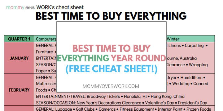 best time buy things year round atop shot of free cheat sheet broken down by quarter, month, weekday, time of day