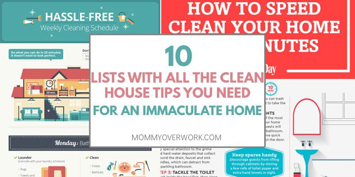 lists with best clean house tips for an immaculate home atop infographics for weekly cleaning schedule and fabric care collage