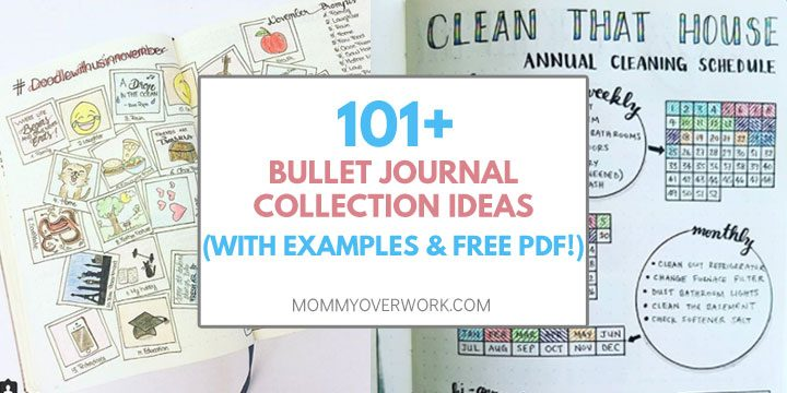 Over 100 bullet journal ideas text atop doodle challenge and cleaning spread