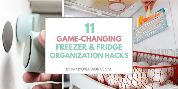 freezer and fridge organization hacks atop magnetic tins on outside of fridge, side pouch, and basket to increase height of side storage collage