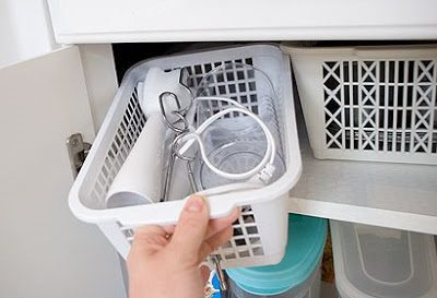organize kitchen cabinet, drawer, or cupboard with small basket