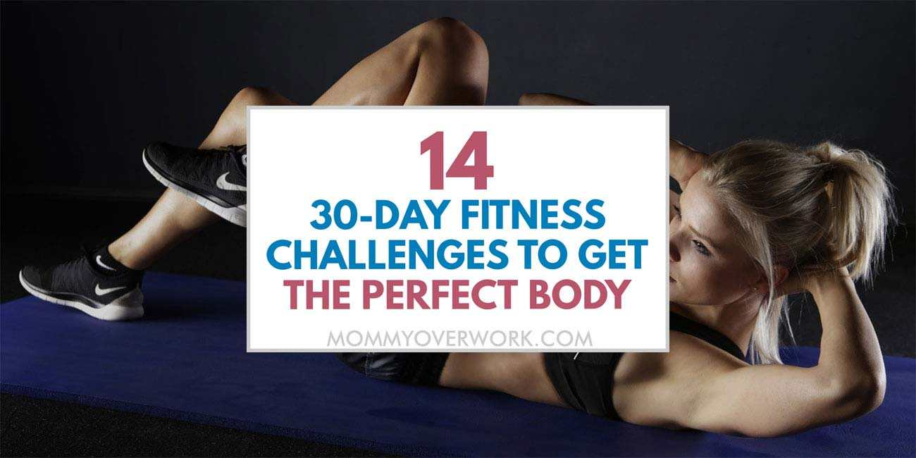 Round up of 30-day fitness challenges for the perfect body atop toned abs and arms collage