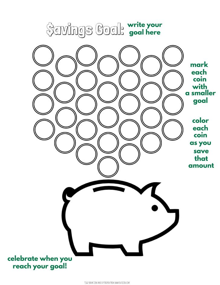 coin and piggy bank printable to track savings, great for kids or bullet journal