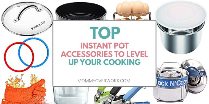 top instant pot accessories to level up your cooking title box atop collage of amazon products glass lid sealing ring cheesecake pan silicone lid steamer basket retriever tongs trivet