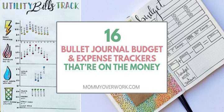 bullet journal budget and expense trackers that're on the money title box atop bill tracker and budget spread