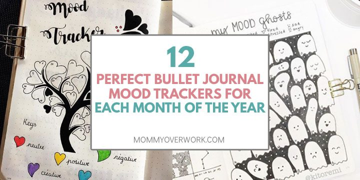 bullet journal mood trackers for each month of the year text atop collage heart tree and halloween ghost trackers