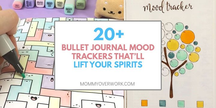20+ bullet journal mood trackers that will lift your spirits text atop collage tetris and tree trackers