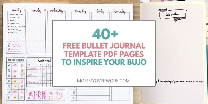free bullet journal printable pdf pages to inspire your bujo title box atop weekly spread and task list collage