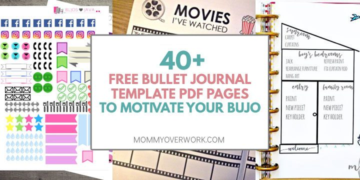 free bullet journal template pdf pages to inspire your bujo title box atop 3 weekly spread and task list collage