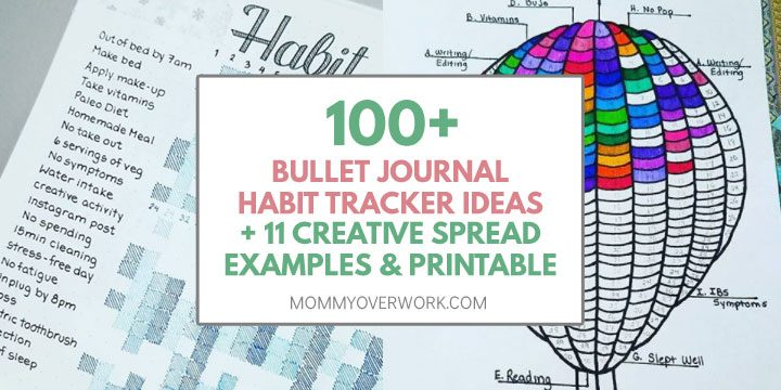 100 bullet journal habit tracker ideas, 11 creative spread examples and printable text atop collage grid and balloon habit tracker
