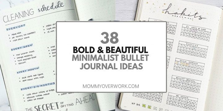 bold and beautiful minimalist bullet journal ideas title box atop cleaning schedule and habit tracker