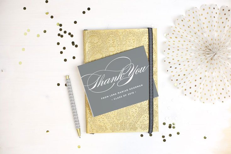how to write graduation thank you message thank you card against gold notebook