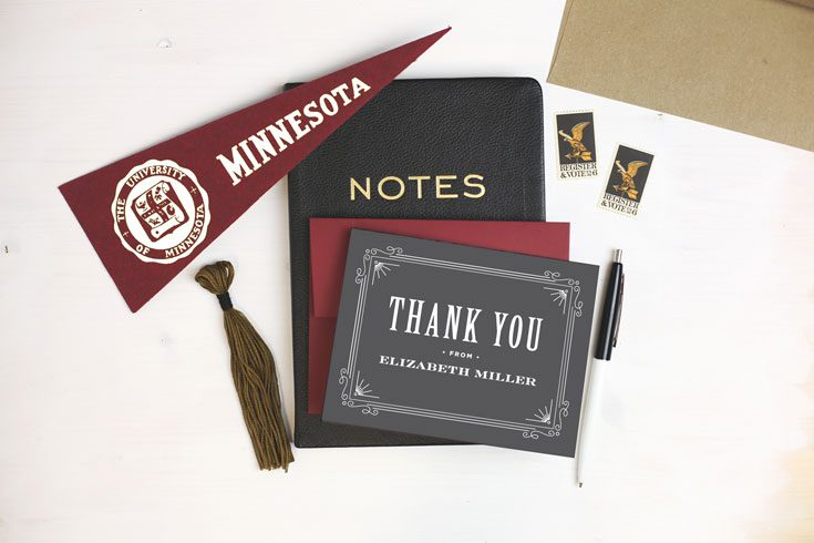 how to write graduation thank you message with college flag, tassel, notebook