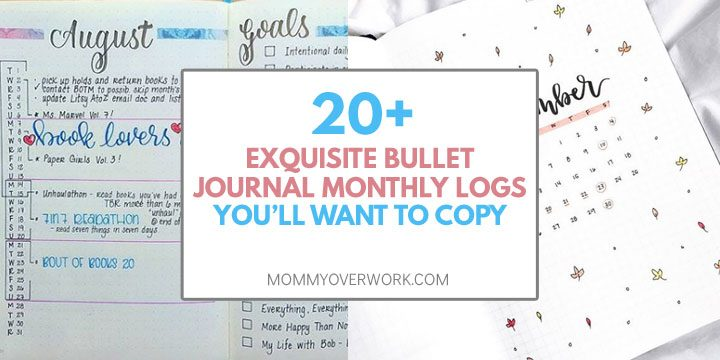 20 exquisite monthly log bullet journal calendar to copy vertical layout and monthly cover spread