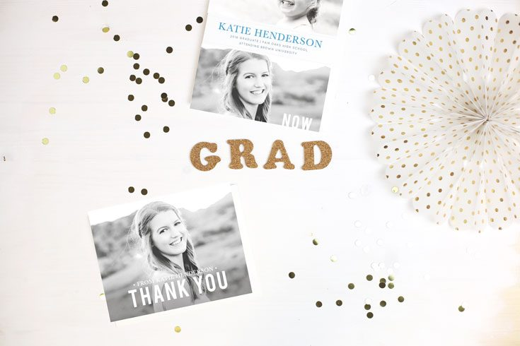 picture graduation announcement card graduation thank you card with grad gold confetti