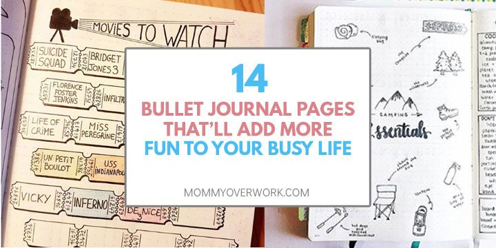 bullet journal layout pages to add fun to busy life text atop movies to watch and camping travel spread