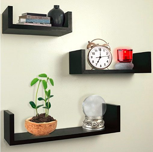 floating shelves staggered on the wall perfect for house, small bedroom, tiny apartment, college dorm