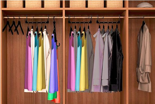 closet with wonder hanger that can store clothes horizontally or stagger vertically to save space in closet