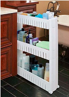 narrow tower cart with 3 shelves to store toiletries. wheeled out from space between bathroom sink and bathtub