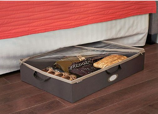 under the bed storage unit holding shoes and purses that can zip up to protect from dust