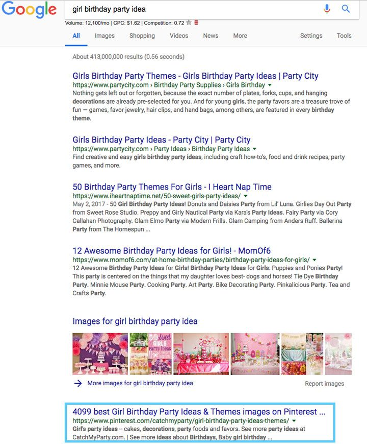 Pinterest ranking in Google using SEO