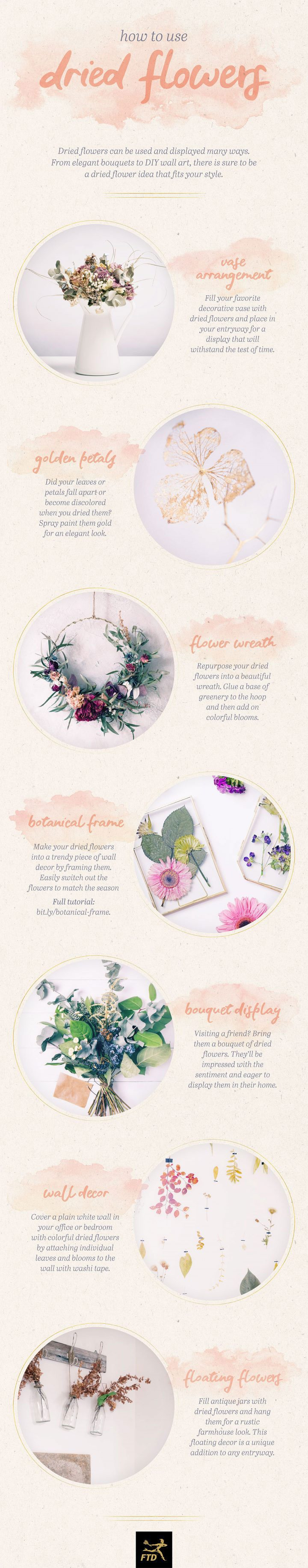 dried flower arrangement ideas infographic