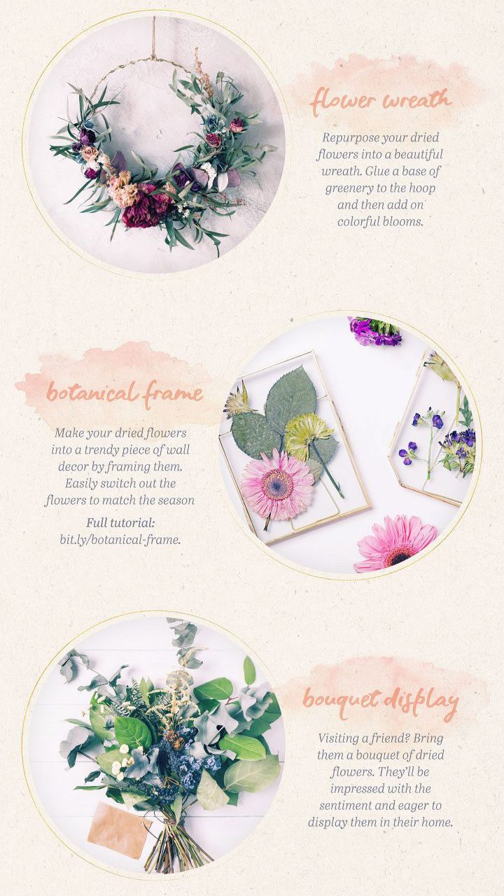 how to use dried flowers - wreath, frame, and bouquet.