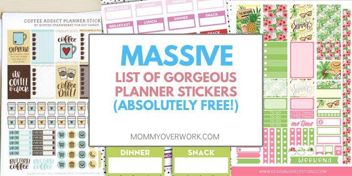 massive list of free planner sticker printables atop collage of stickers