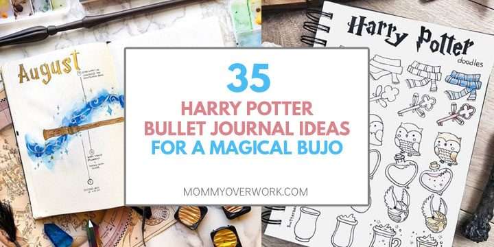 collage of harry potter bullet journal page ideas including monthly cover and doodles.