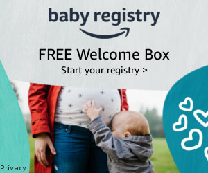 amazon baby registry with free welcome box 300x250 ad banner.