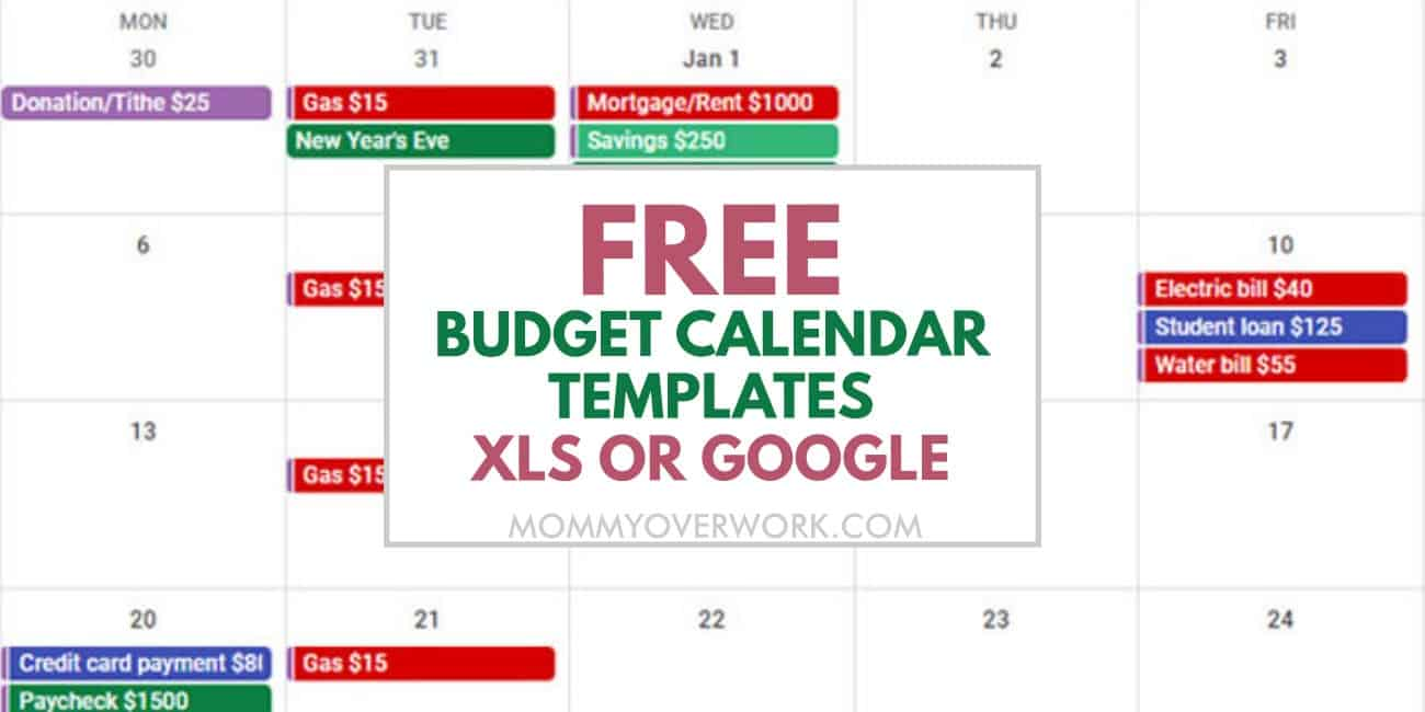 free budget calendar templates xls or google text atop recurring expenses like housing, transportation, food, bills and more.