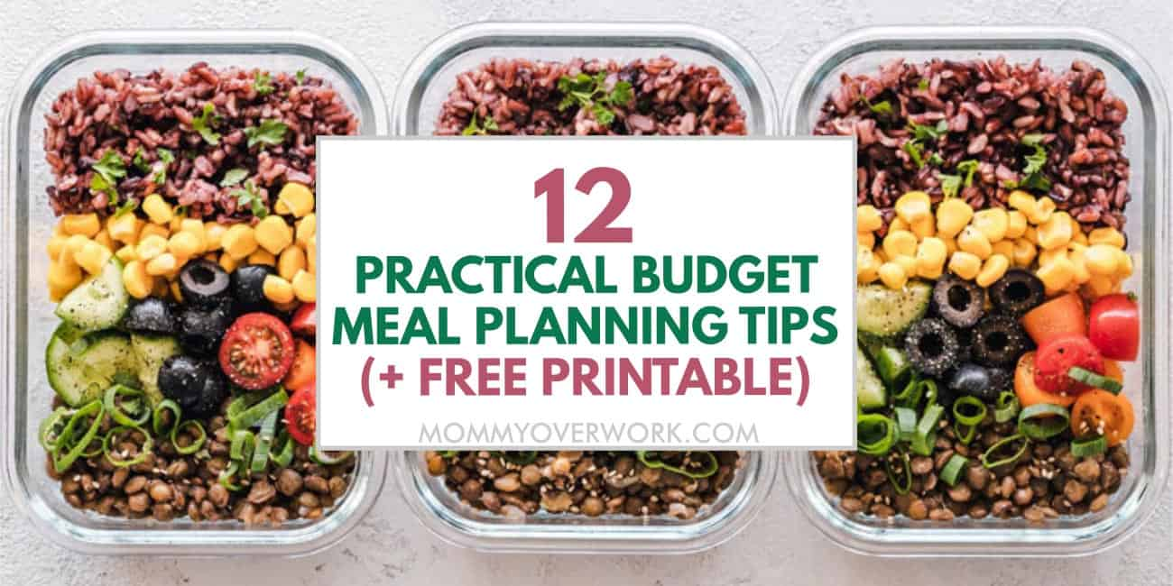 budget meal planning tips and free planner printable text atop prepared meal containers.