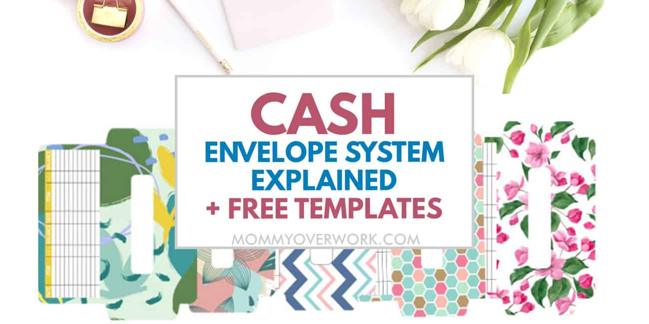 cash envelope system explained and free templates text atop spread of 5 free chic printables.