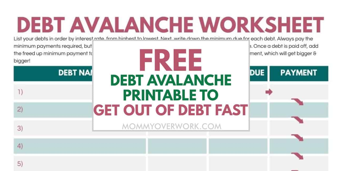 free debt avalanche printable to get out of debt fast text atop part of free worksheet printable.