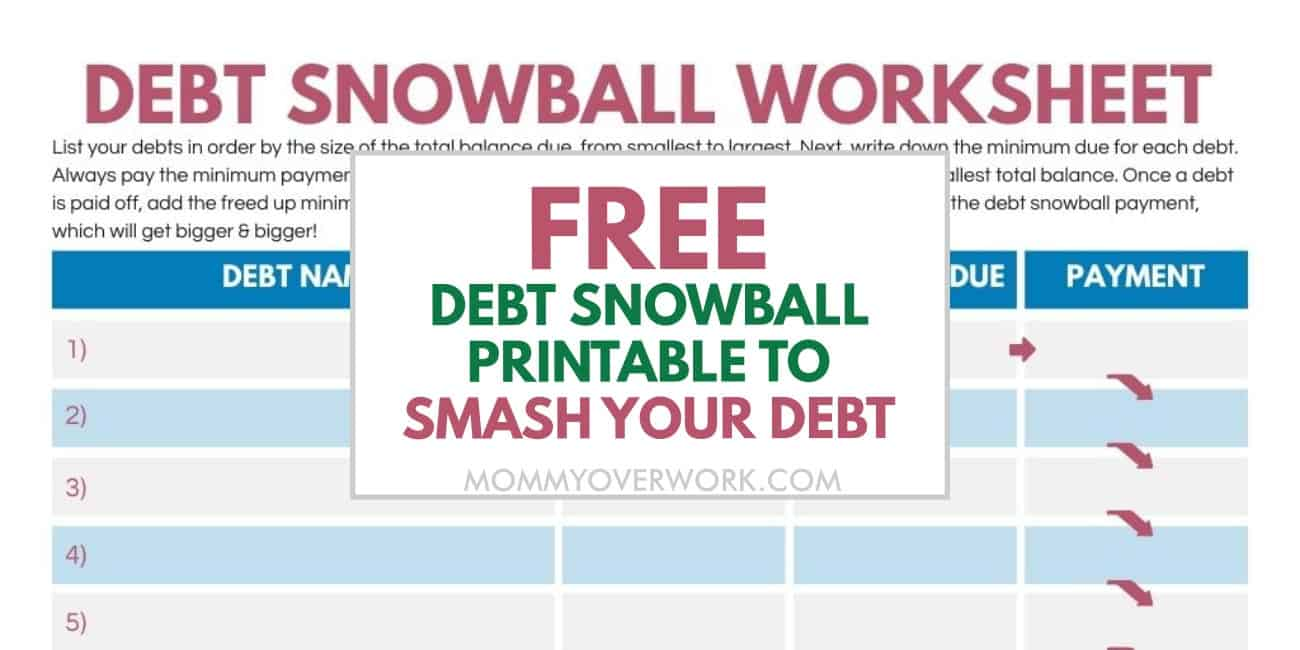 free debt avalanche printable to smash your debt fast text atop part of free worksheet printable.