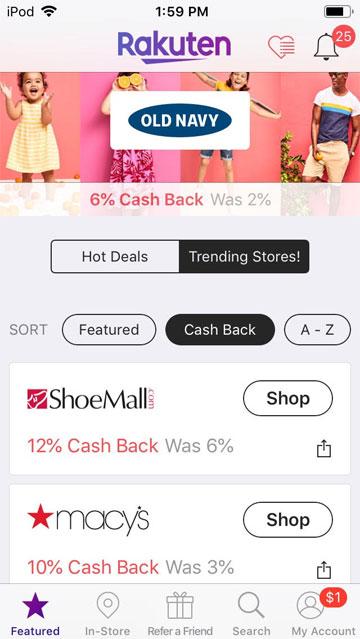 ebates rakuten review - screenshot of stores in rakuten app.