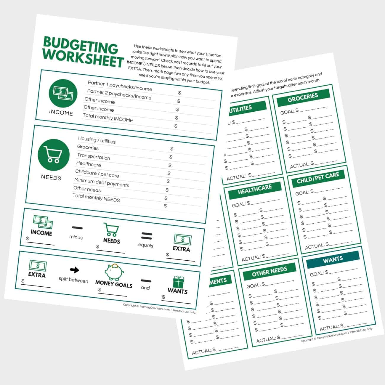 preview of free single page budgeting worksheet and expenses tracker printables.