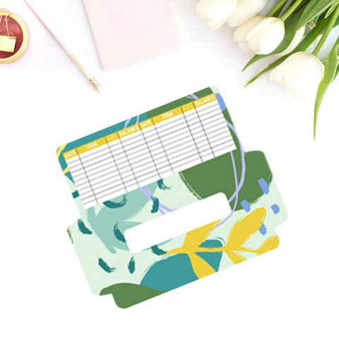 free cash envelope printable template with abstract teal, green, yellow botanical design.