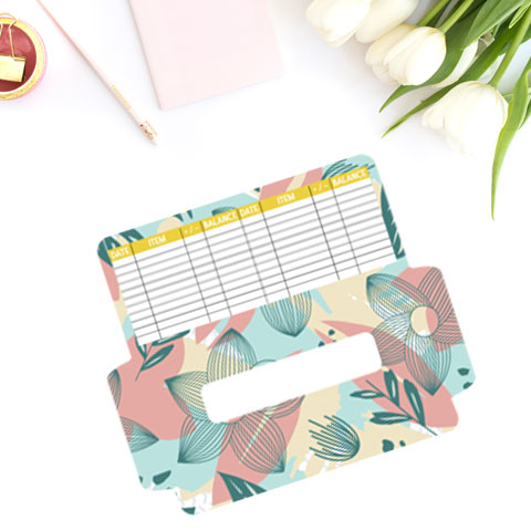 free cash envelope printable template with pink, teal, tan floral botanical design.