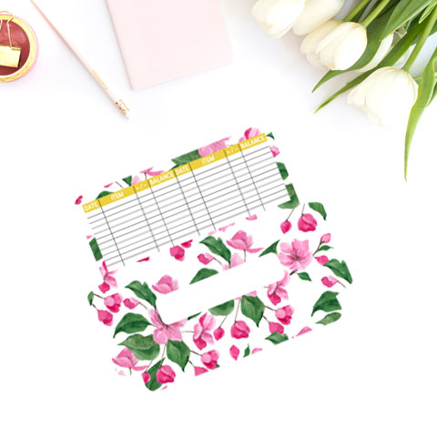 free cash envelope printable template with watercolor floral pink design.