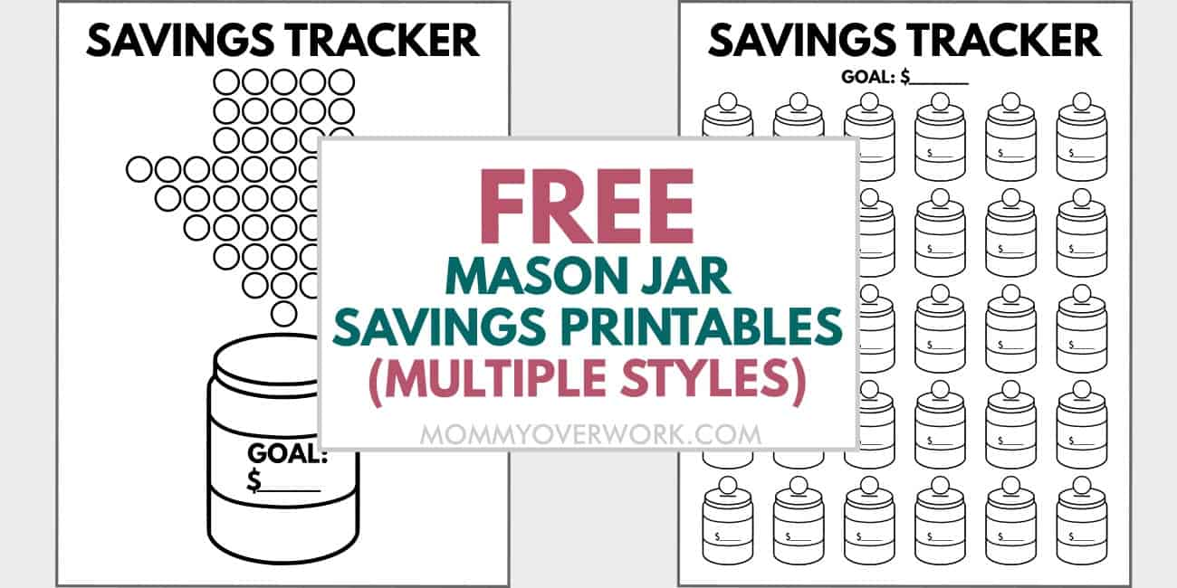 free mason jar savings printables text atop trackers for 52-week and 30-day money challenges.