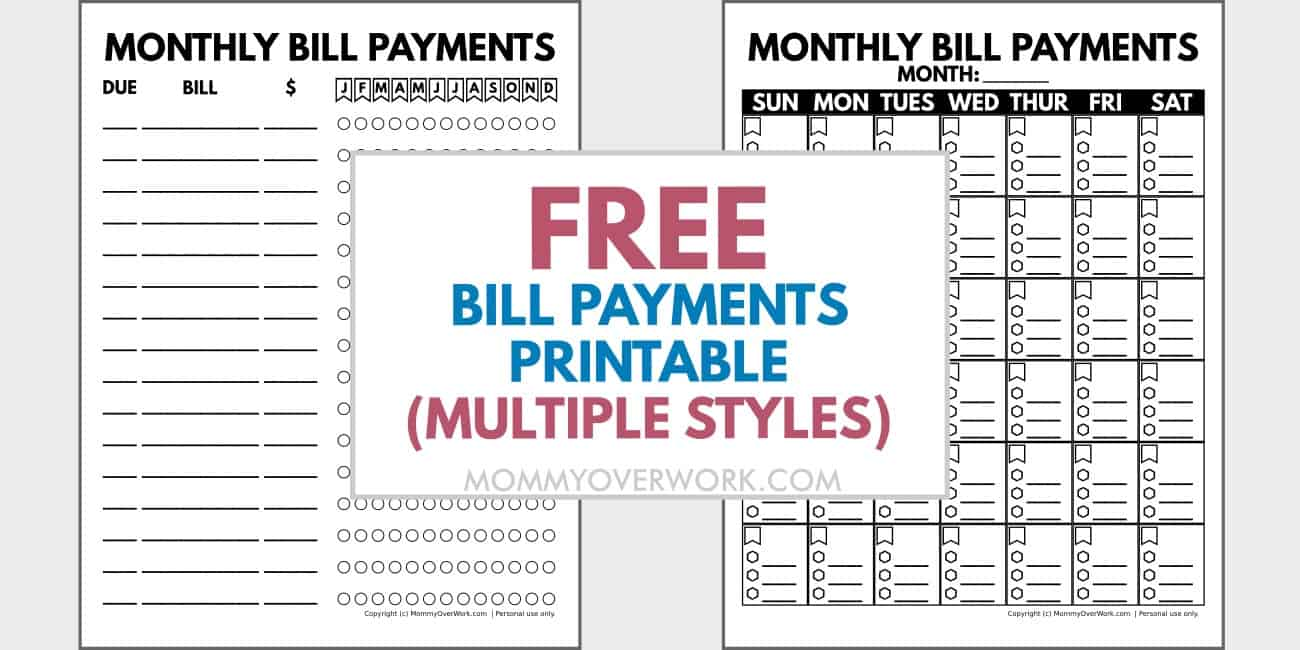 free bill payments printables in multiple styles text atop 2 blank sheets.