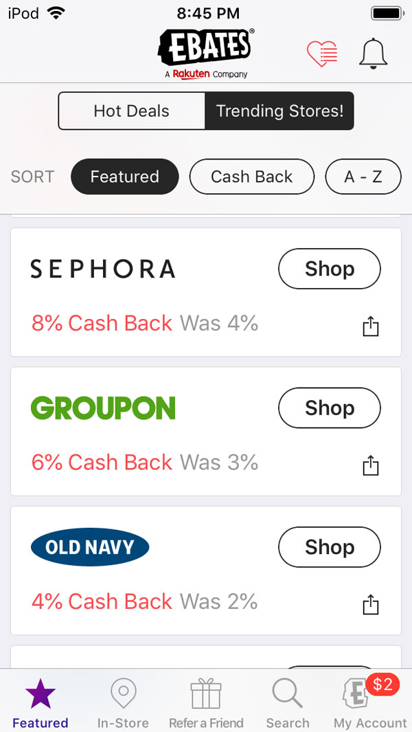 how rakuten ebates works - offers for double cash back through the app.