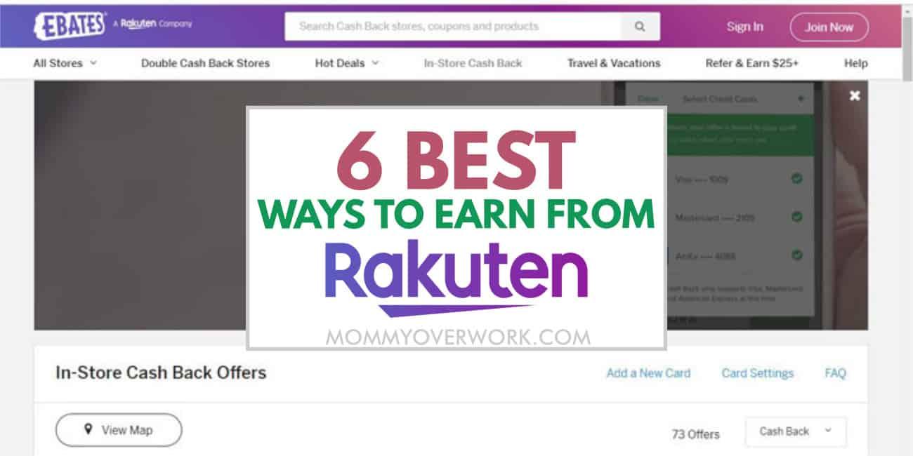 how does rakuten ebates work - best ways to earn money through app text atop screenshot of homepage.