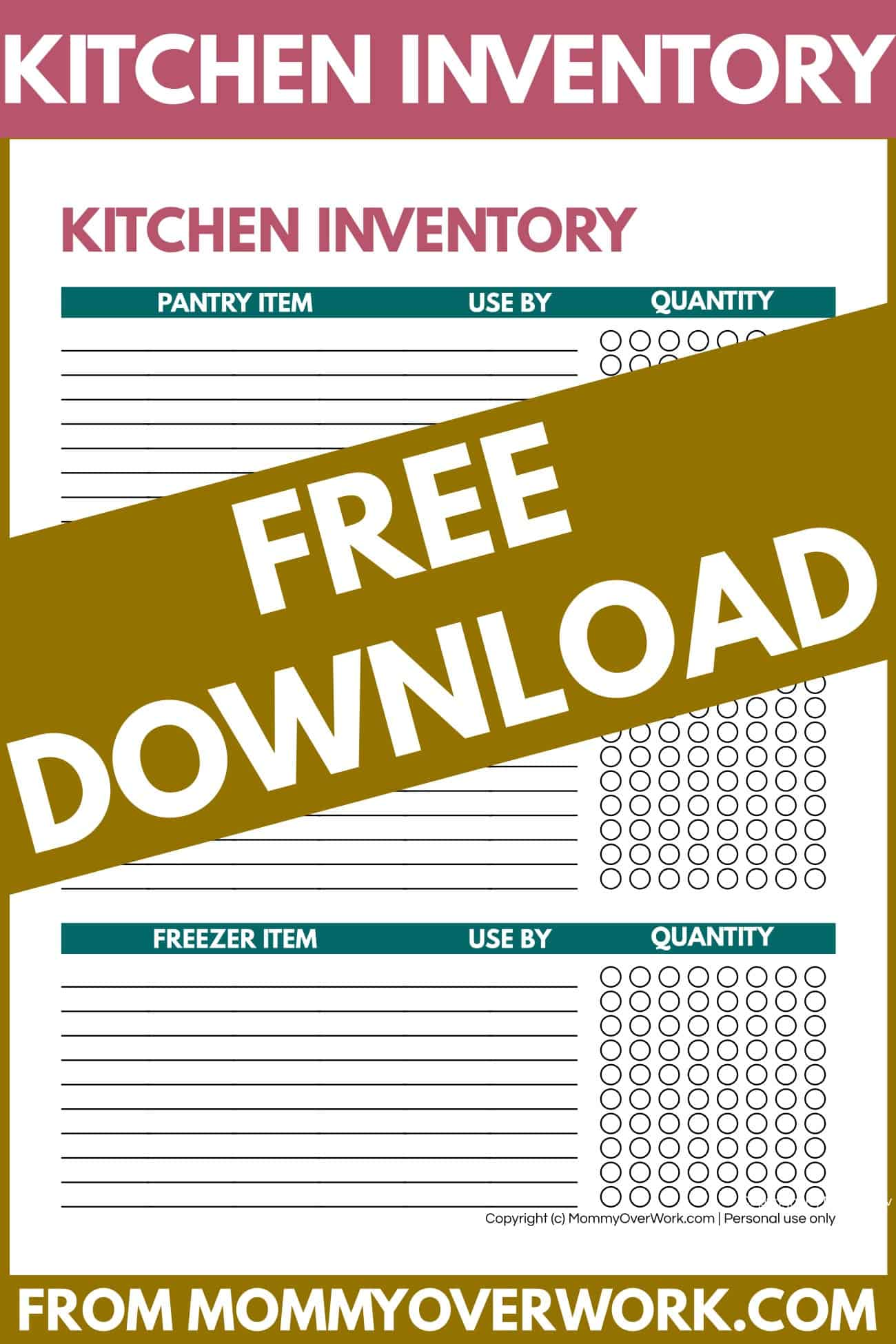 free kitchen inventory sheet template printable.