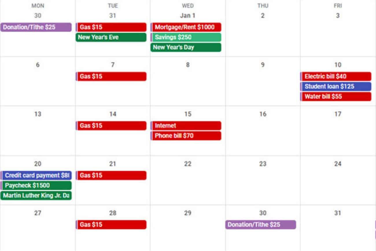 preview of free google budget calendar.