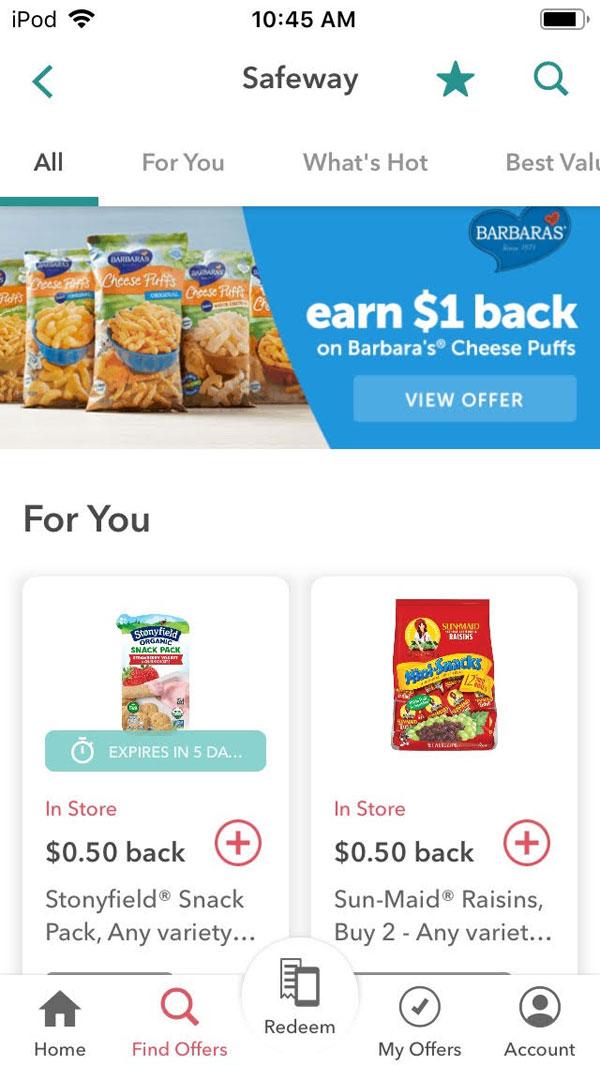 ibotta review screenshot of lots of rebates available through app.