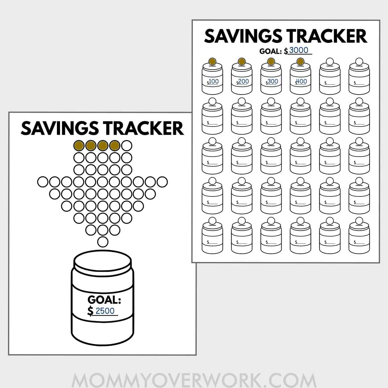 preview of free savings jar printables - arrow of coins dropping into mason jar and chart of 30 mini jars.
