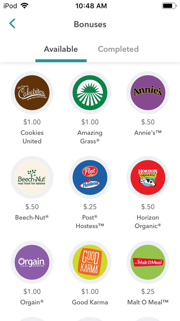 ibotta app screenshot of multiple bonuses available to earn even more cash back through the app.