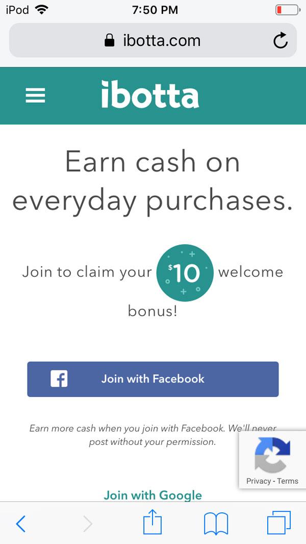ibotta app review screenshot of welcome bonus referral promo code.